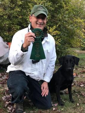 """Docheno' Oil Patch Devil """"Tar"""", Qualifying JAM, Colonial Retriever Field Trial Club! Owned and handled by Richard Jennings. Tar is out of NAFC FC Tubb x Docheno's Chasing the Blue MH."""
